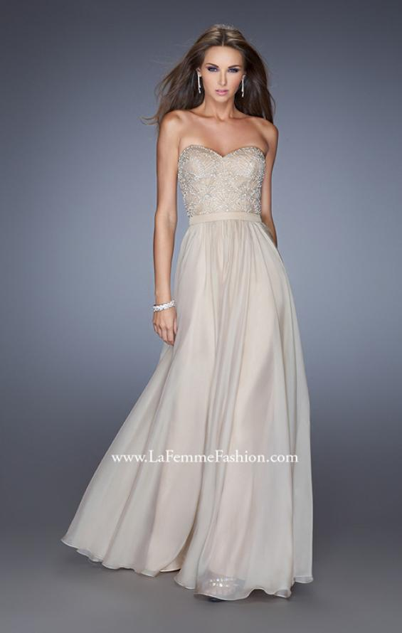 Picture of: Long Strapless Chiffon Prom Gown with Embellishments in Nude, Style: 20447, Detail Picture 2