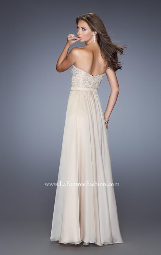 Picture of: Long Strapless Chiffon Prom Gown with Embellishments in Nude, Style: 20447, Detail Picture 4