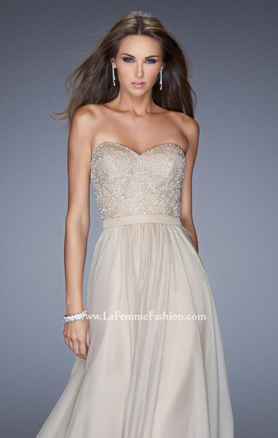 Picture of: Long Strapless Chiffon Prom Gown with Embellishments in Nude, Style: 20447, Detail Picture 5