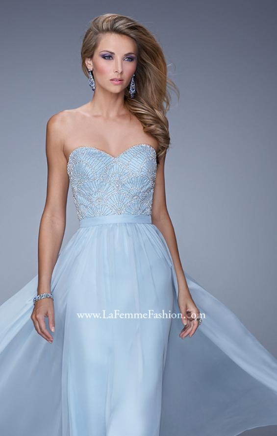 Picture of: Long Strapless Chiffon Prom Gown with Embellishments in Blue, Style: 20447, Detail Picture 6