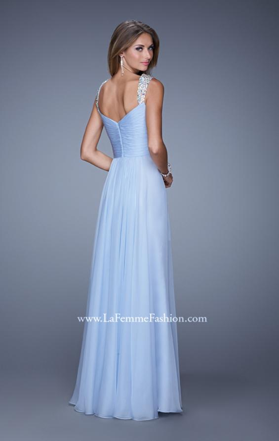 Picture of: Long Chiffon Gown with Jeweled Straps and V Neck in Blue, Style: 20448, Back Picture