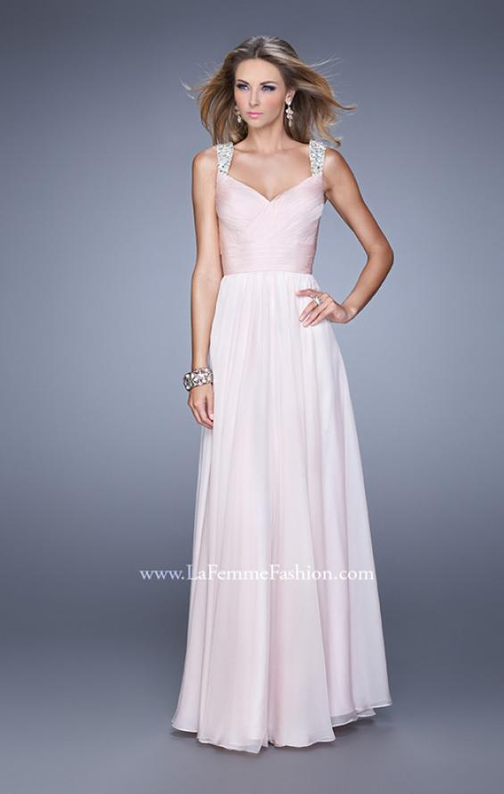 Picture of: Long Chiffon Gown with Jeweled Straps and V Neck in Pink, Style: 20448, Detail Picture 1