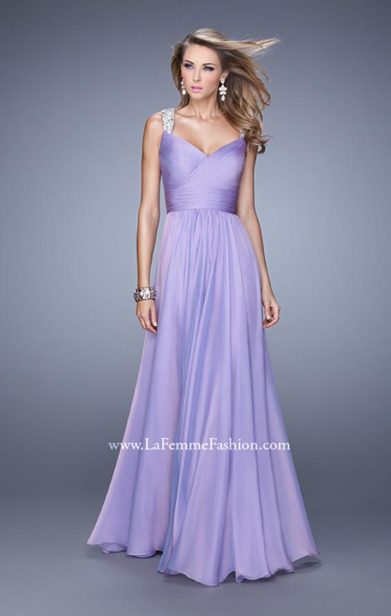 Picture of: Long Chiffon Gown with Jeweled Straps and V Neck in Purple, Style: 20448, Detail Picture 3