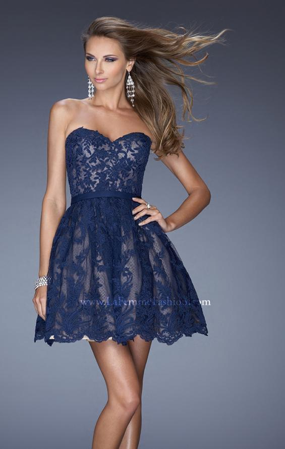 Picture of: Sweetheart Cocktail Dress with a Scalloped Hem in Blue, Style: 20451, Main Picture