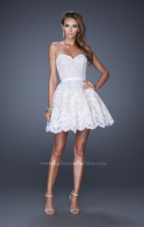 Picture of: Sweetheart Cocktail Dress with a Scalloped Hem in White, Style: 20451, Detail Picture 1