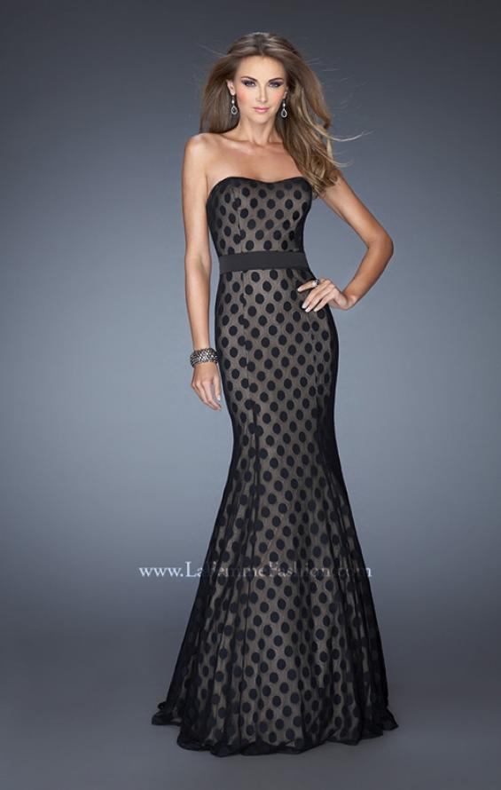 Picture of: Strapless Long Mermaid Gown with Polka Dot Lace in Black, Style: 20456, Main Picture