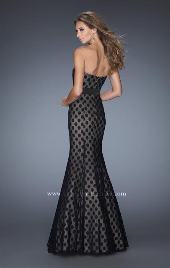 Picture of: Strapless Long Mermaid Gown with Polka Dot Lace in Black, Style: 20456, Back Picture