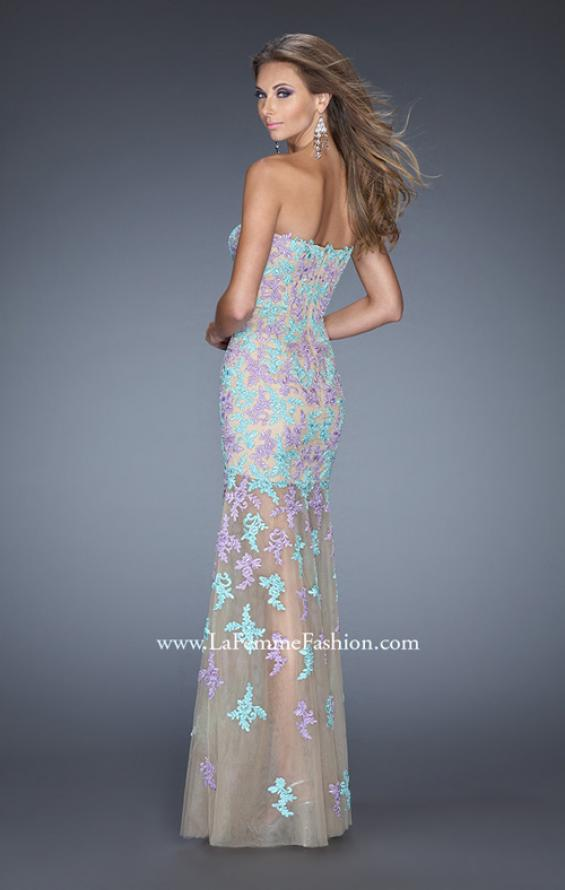 Picture of: Long Prom Gown with Sheer Layered Tulle Skirt, Style: 20459, Back Picture