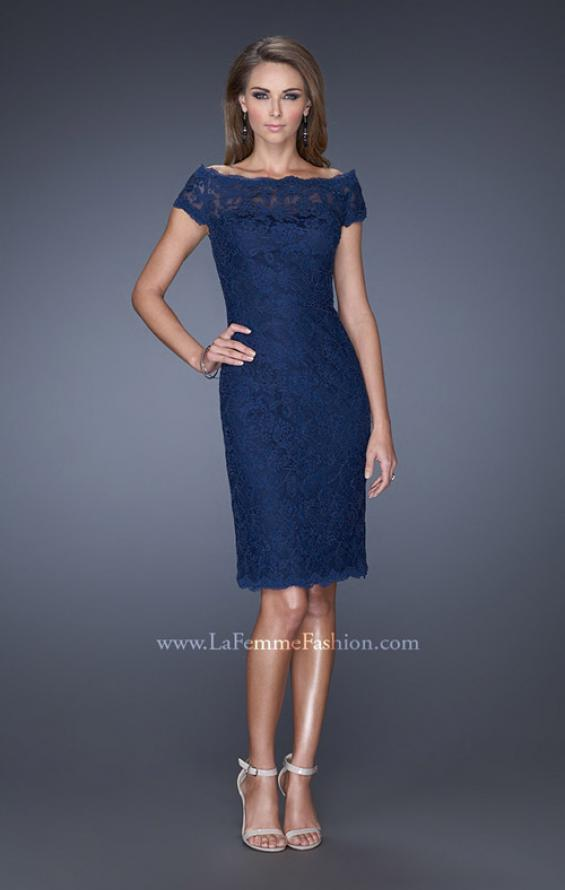 Picture of: Cap Sleeve High Neck Lace Evening Dress with Lace Trim in Blue, Style: 20462, Main Picture