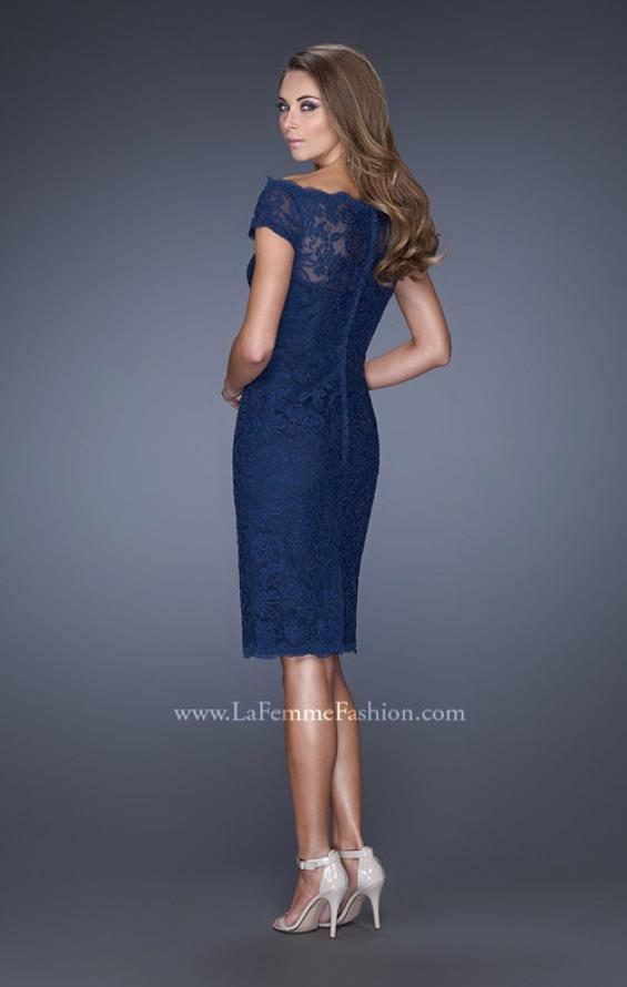 Picture of: Cap Sleeve High Neck Lace Evening Dress with Lace Trim in Blue, Style: 20462, Back Picture