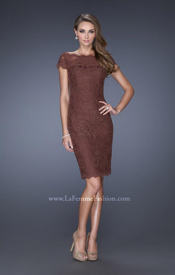 Picture of: Sequin Lined Evening Gown with Short Sleeves and Lace in Brown, Style: 20463, Detail Picture 1