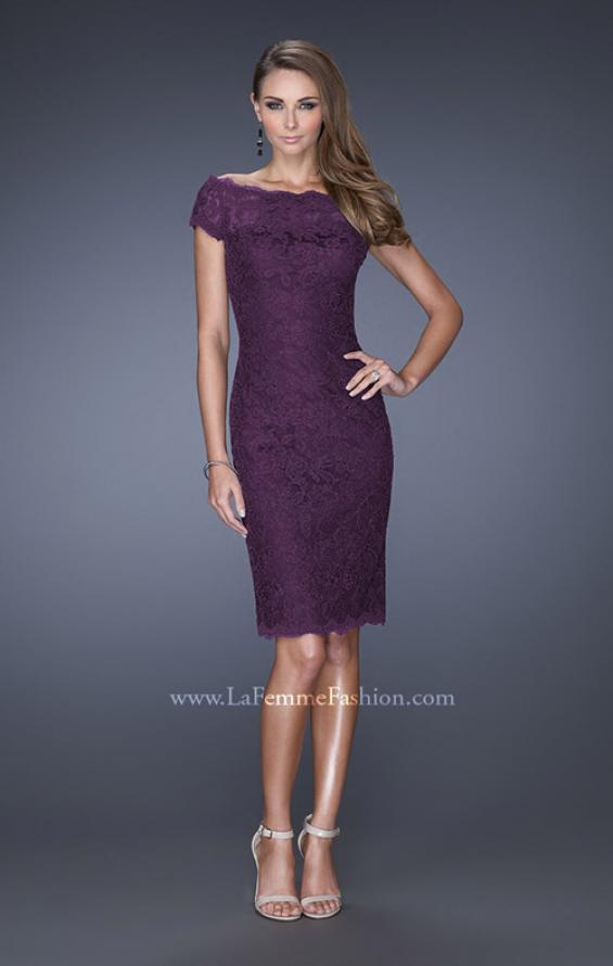 Picture of: Sequin Lined Evening Gown with Short Sleeves and Lace in Purple, Style: 20463, Detail Picture 2