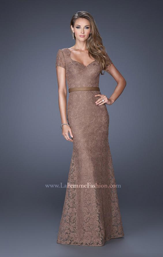 Picture of: Cap Sleeve Lace Evening Dress with Belted Waist, Style: 20464, Detail Picture 1