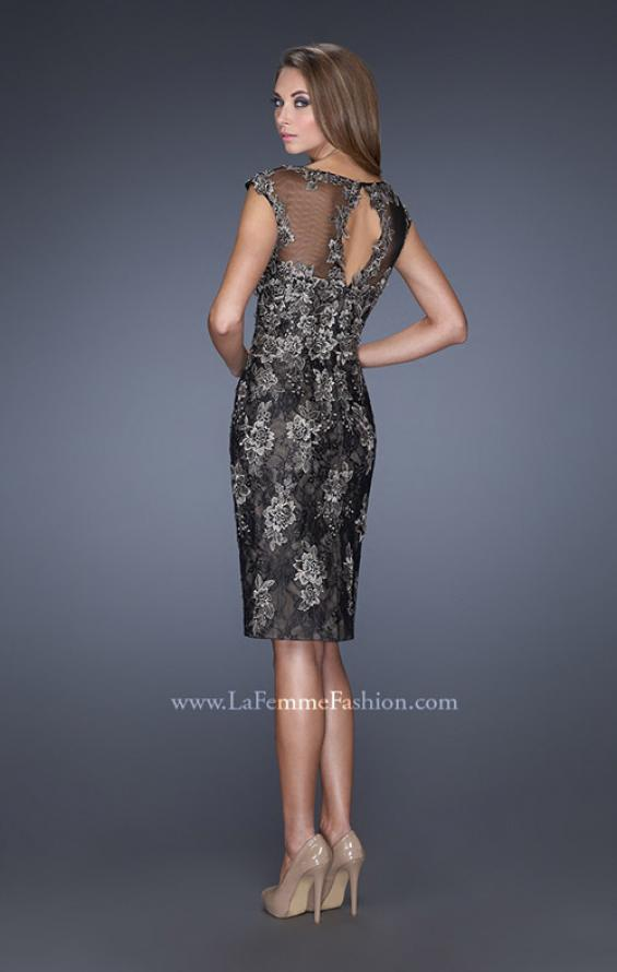 Picture of: Two Tones Lace Evening Dress with Lace Trim, Style: 20465, Back Picture
