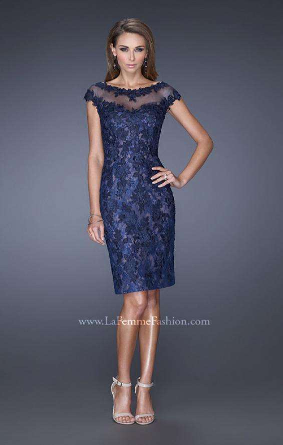 Picture of: Two Tones Lace Evening Dress with Lace Trim, Style: 20465, Detail Picture 1