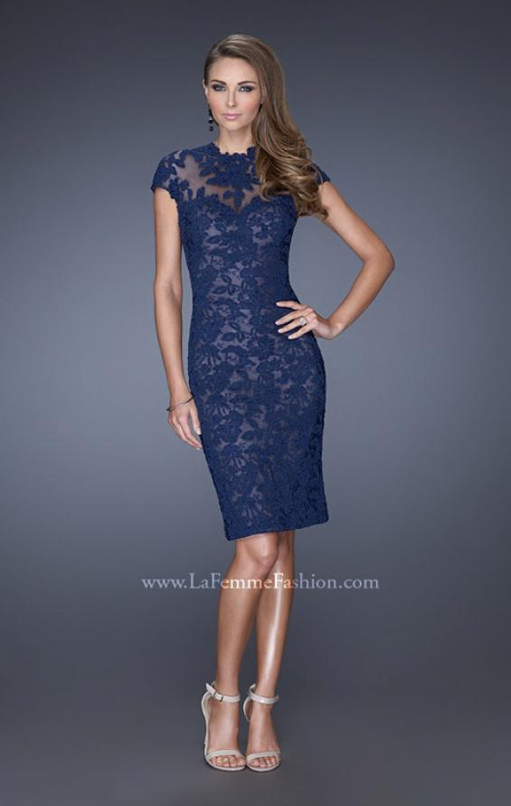 Picture of: High Neckline Lace Dress with Cap Sleeves, Style: 20466, Main Picture