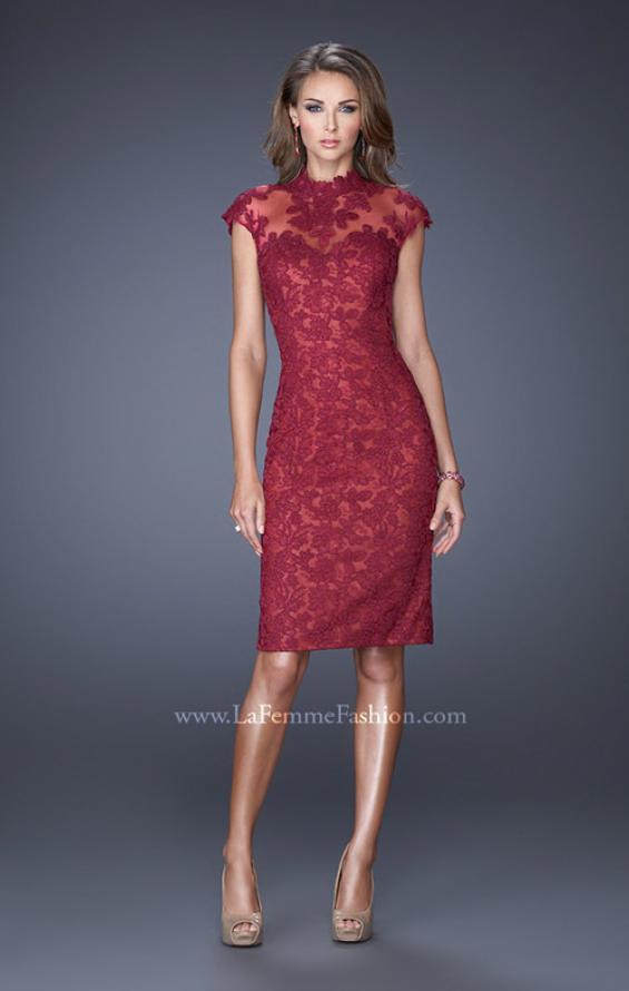 Picture of: High Neckline Lace Dress with Cap Sleeves, Style: 20466, Detail Picture 1