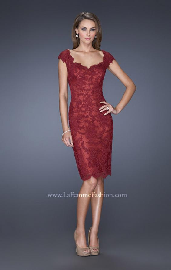 Picture of: Lace Evening Dress with Off the Shoulder Cap Sleeves in Red, Style: 20469, Main Picture