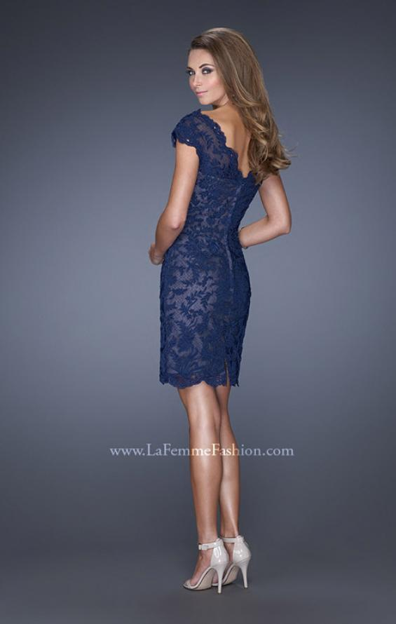 Picture of: Lace Evening Dress with Off the Shoulder Cap Sleeves in Blue, Style: 20469, Back Picture