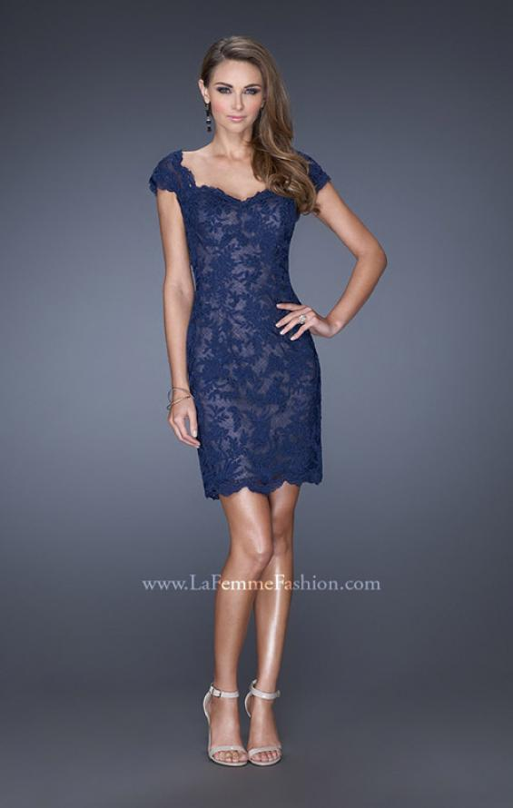 Picture of: Lace Evening Dress with Off the Shoulder Cap Sleeves in Blue, Style: 20469, Detail Picture 1