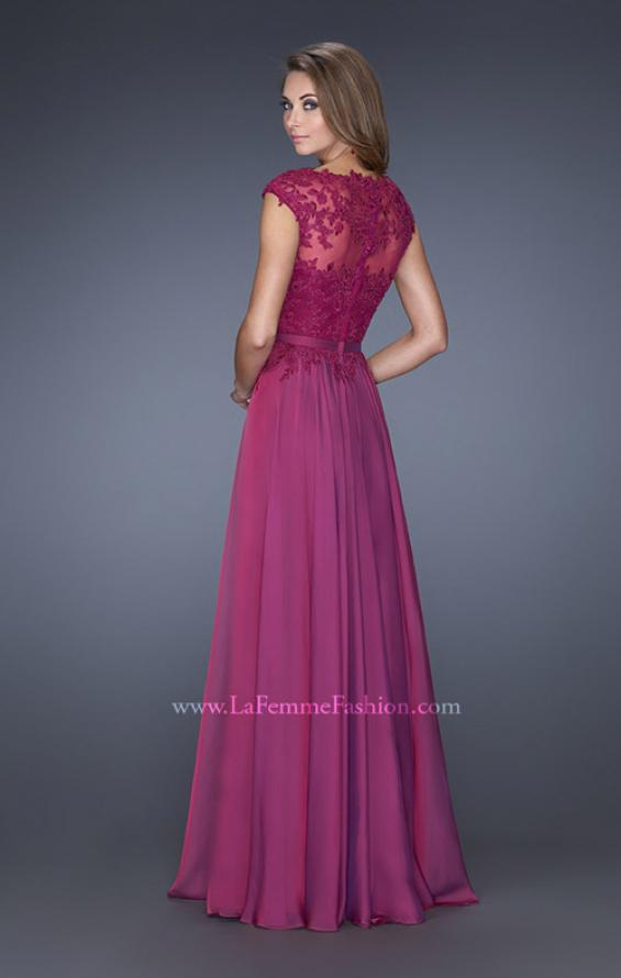 Picture of: Cap Sleeve Chiffon Evening Dress with Lace Accents, Style: 20476, Back Picture