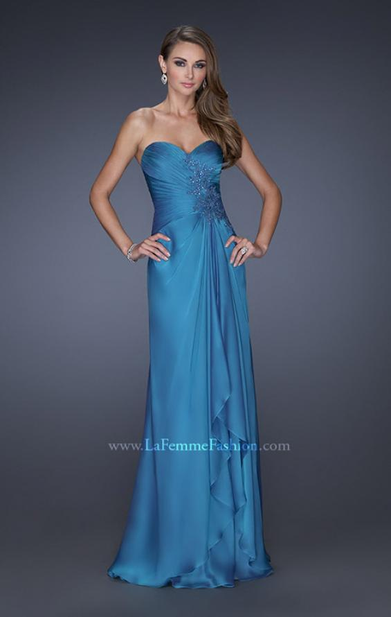 Picture of: Sweetheart Evening Gown with Gathered Bodice and Lace, Style: 20479, Detail Picture 2