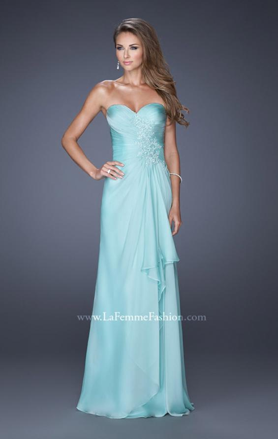 Picture of: Sweetheart Evening Gown with Gathered Bodice and Lace, Style: 20479, Detail Picture 3