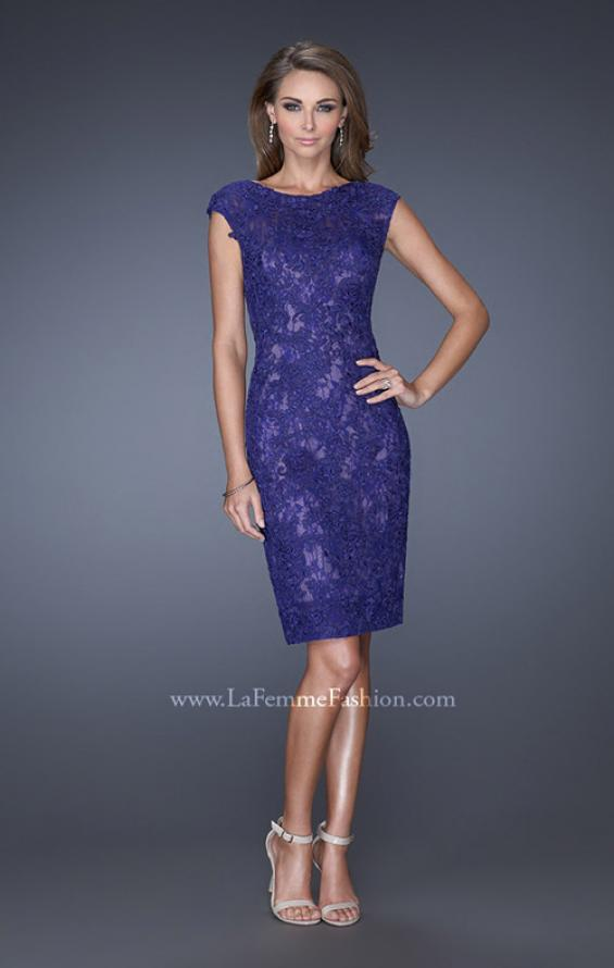 Picture of: Scoop Neck Lace Evening Dress with Small Slit in Blue, Style: 20484, Main Picture