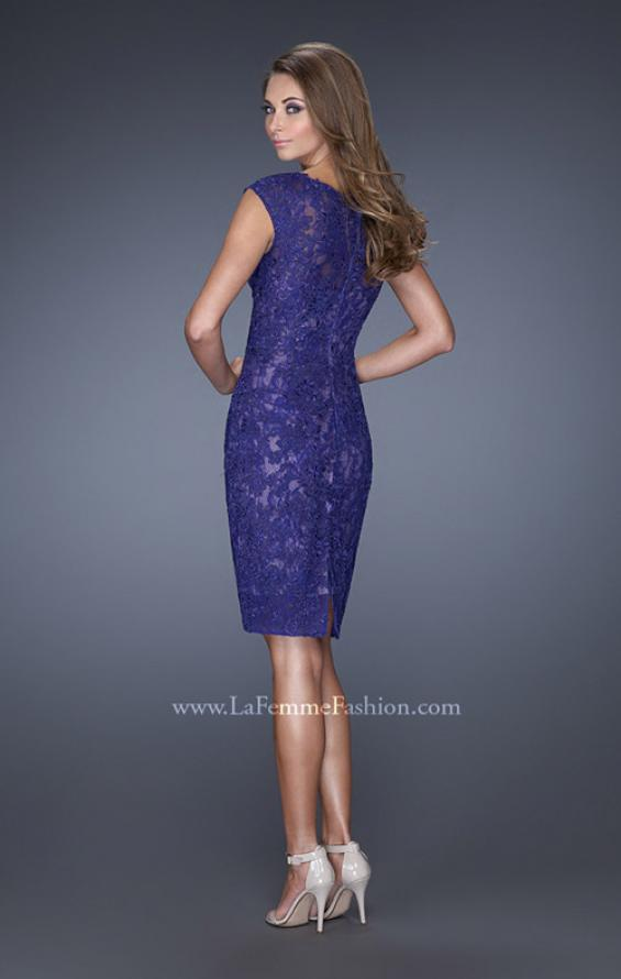 Picture of: Scoop Neck Lace Evening Dress with Small Slit in Blue, Style: 20484, Back Picture