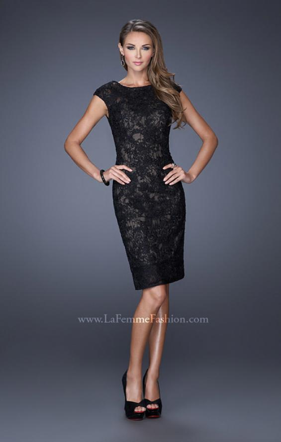 Picture of: Scoop Neck Lace Evening Dress with Small Slit in Black, Style: 20484, Detail Picture 1