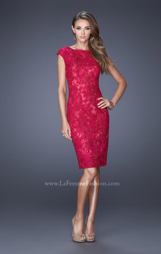 Picture of: Scoop Neck Lace Evening Dress with Small Slit in Pink, Style: 20484, Detail Picture 2