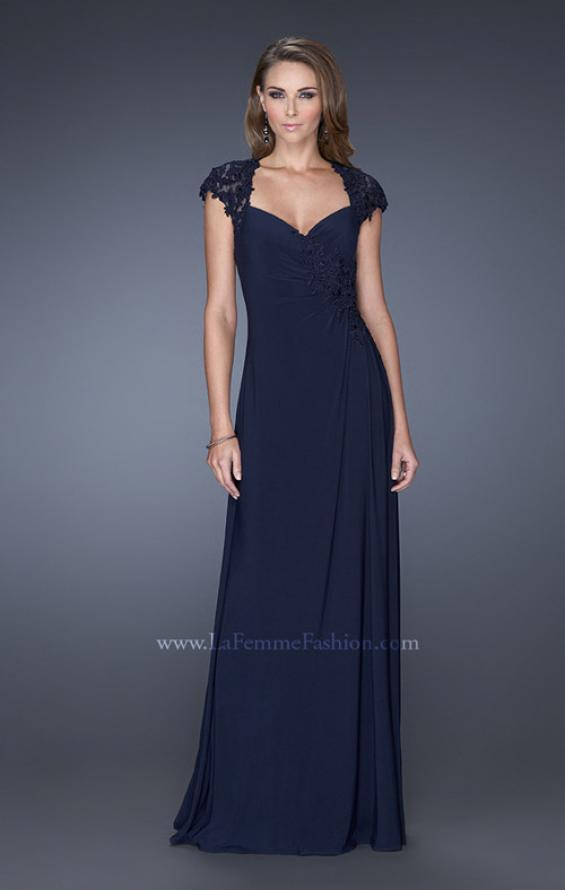 Picture of: Evening Gown with Lace, Ruching, and Cap Sleeves, Style: 20487, Main Picture