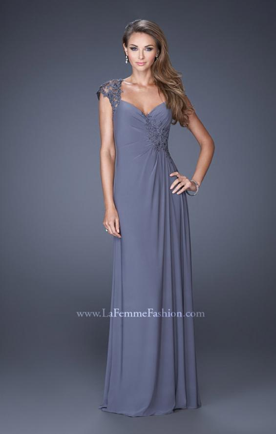 Picture of: Evening Gown with Lace, Ruching, and Cap Sleeves, Style: 20487, Detail Picture 2