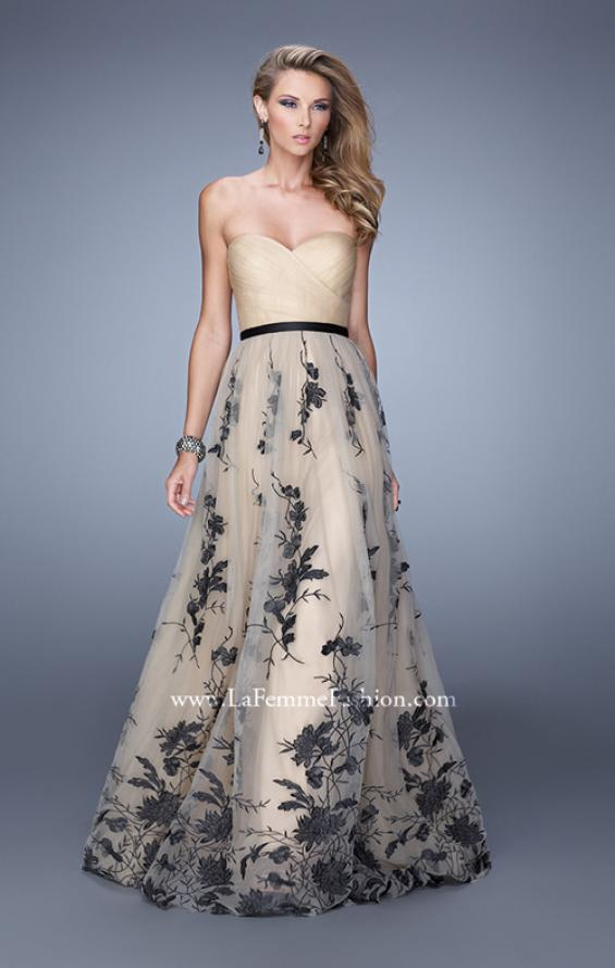 Picture of: Tulle Prom Dress with Lace Appliques and Belt in Nude, Style: 20488, Main Picture