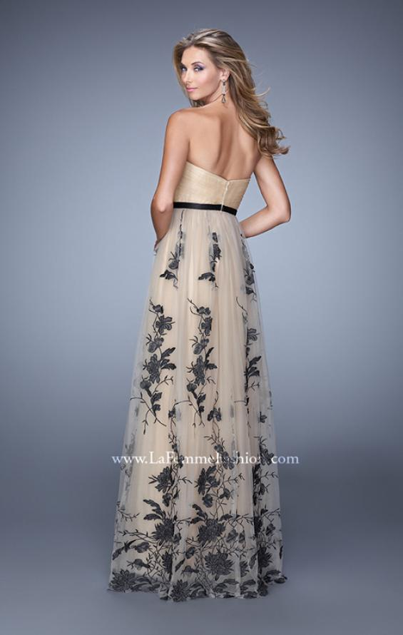 Picture of: Tulle Prom Dress with Lace Appliques and Belt in Nude, Style: 20488, Back Picture