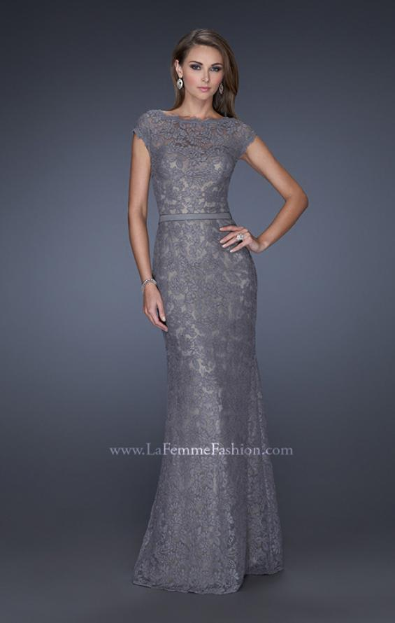 Picture of: Lace Evening Dress with Cap Sleeves and a Thin Belt, Style: 20503, Detail Picture 3