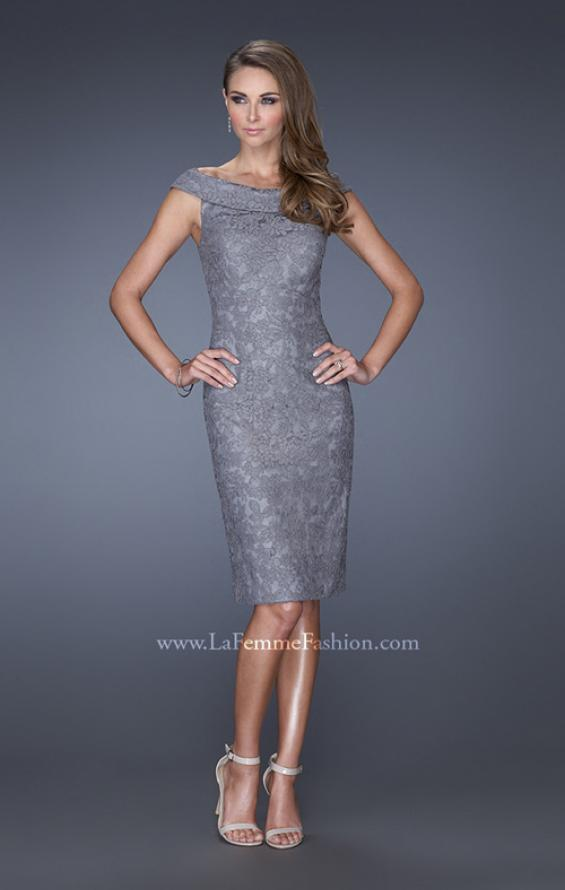 Picture of: Off the Shoulder Lace Gown with Slit in Silver, Style: 20512, Detail Picture 2