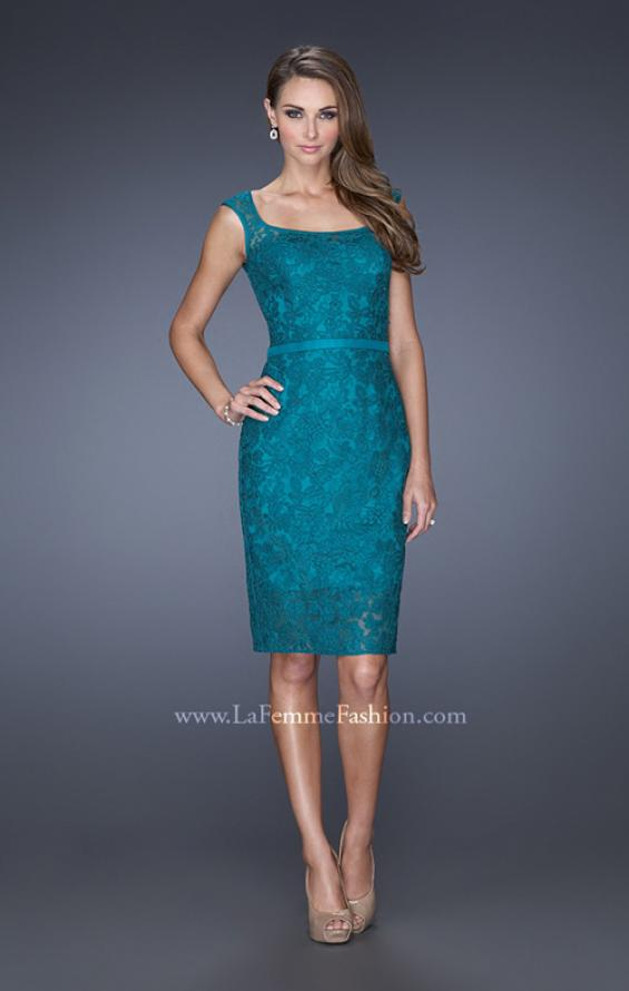 Picture of: Long Lace Gown with Belt, Slit, and Keyhole Back in Blue, Style: 20515, Main Picture