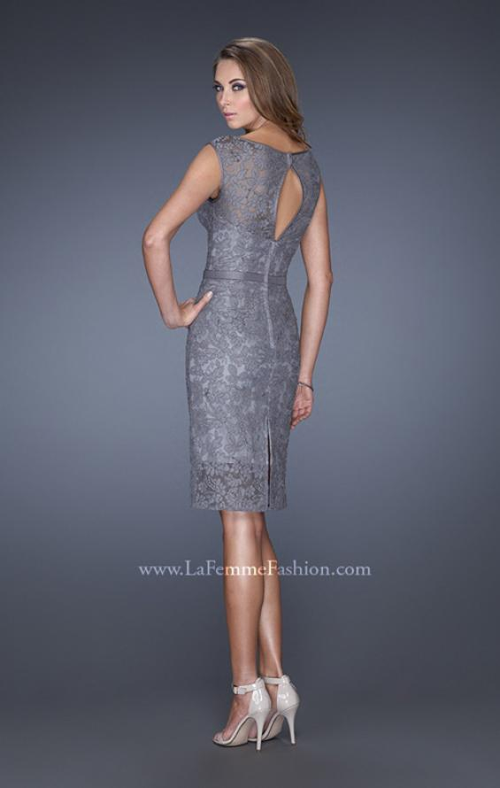 Picture of: Long Lace Gown with Belt, Slit, and Keyhole Back in Silver, Style: 20515, Back Picture