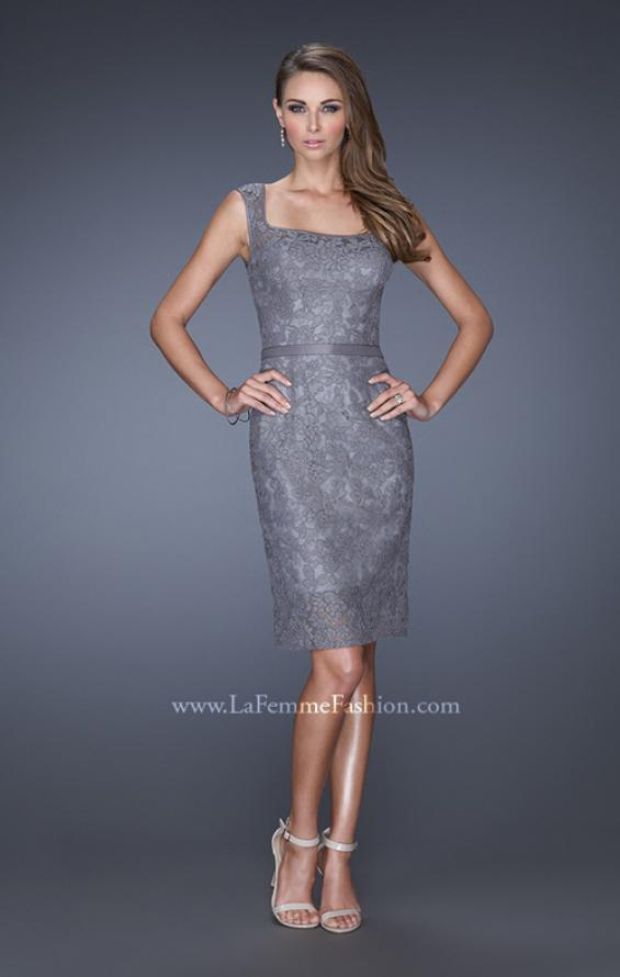 Picture of: Long Lace Gown with Belt, Slit, and Keyhole Back in Silver, Style: 20515, Detail Picture 2