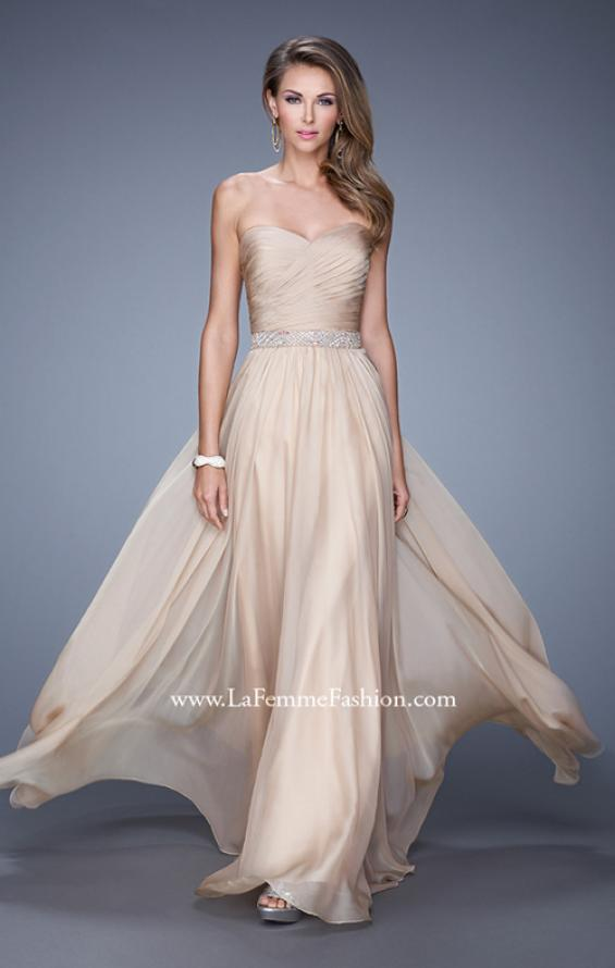 Picture of: Long Chiffon Dress with Ruched Detail and Embellishments, Style: 20527, Detail Picture 1