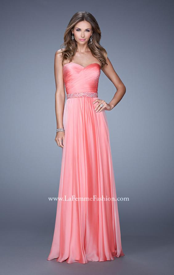 Picture of: Long Chiffon Dress with Ruched Detail and Embellishments, Style: 20527, Detail Picture 2
