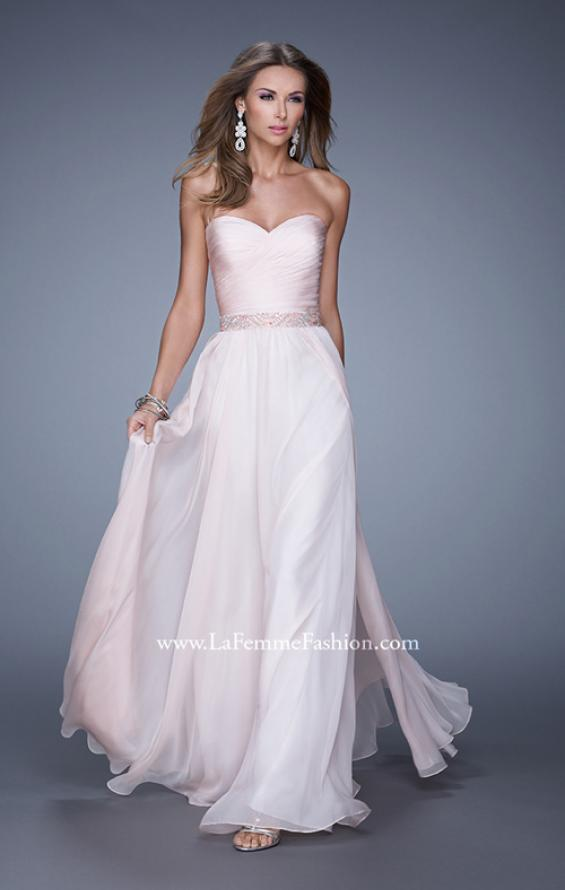 Picture of: Long Chiffon Dress with Ruched Detail and Embellishments, Style: 20527, Detail Picture 3