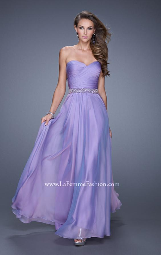 Picture of: Long Chiffon Dress with Ruched Detail and Embellishments, Style: 20527, Detail Picture 4