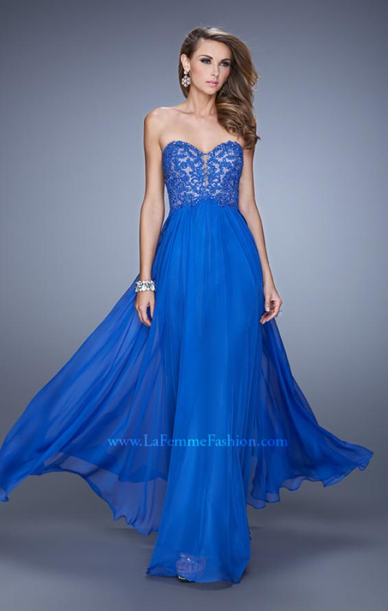 Picture of: Long Prom Gown with Jeweled Lace Appliques and Beads, Style: 20534, Main Picture