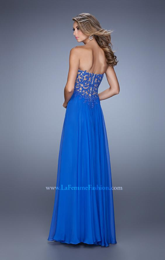 Picture of: Long Prom Gown with Jeweled Lace Appliques and Beads, Style: 20534, Back Picture