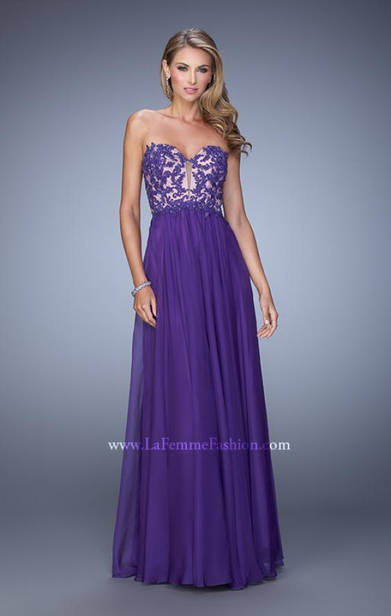 Picture of: Long Prom Gown with Jeweled Lace Appliques and Beads, Style: 20534, Detail Picture 1