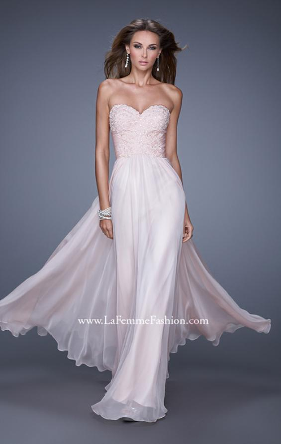 Picture of: Long Chiffon Prom Dress with Beaded Lace Appliques, Style: 20535, Main Picture