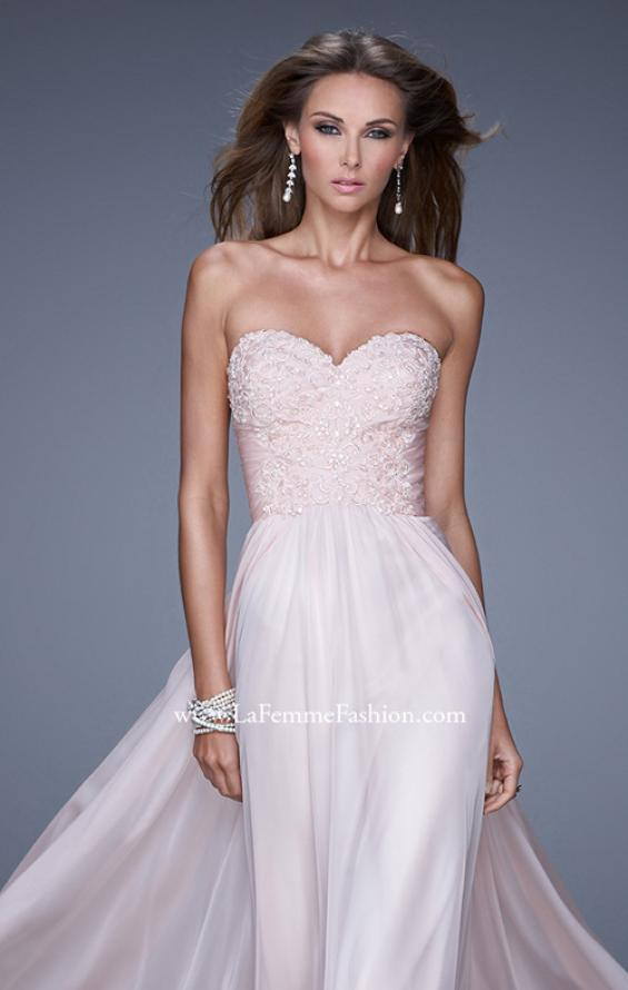 Picture of: Long Chiffon Prom Dress with Beaded Lace Appliques, Style: 20535, Detail Picture 1