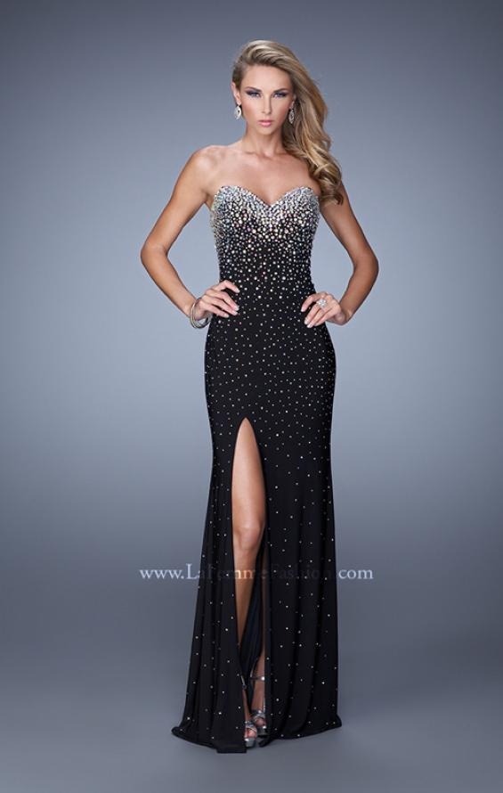 Picture of: Jersey Prom Dress Encrusted in Iridescent Jewels in Black, Style: 20538, Detail Picture 1